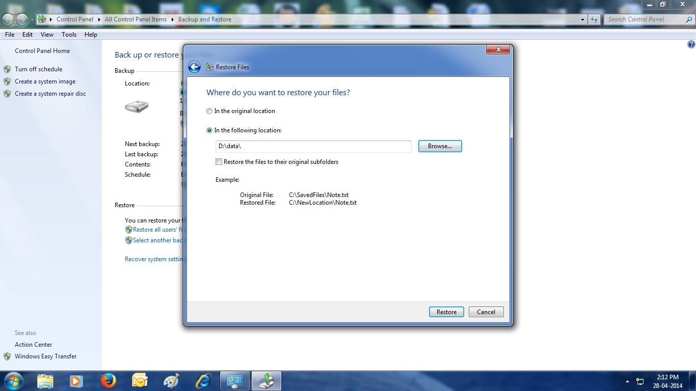 target-location-to-restore-files