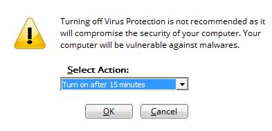 disable antivirus settings