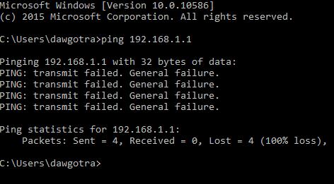 pinging general failure
