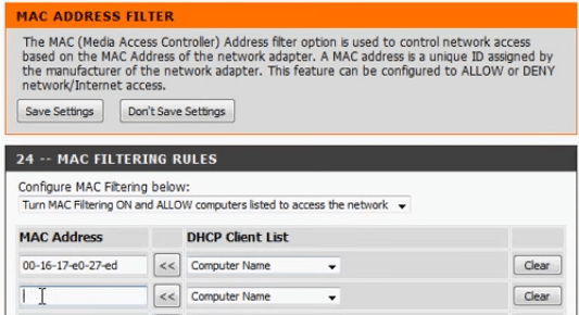 MAC-filter list Dlink router