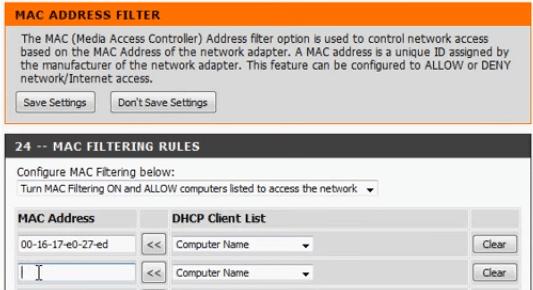 MAC-filter list Dlink router