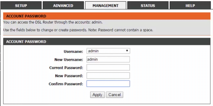 change router admin password