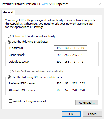 manual gateway IP 192.168.1.1