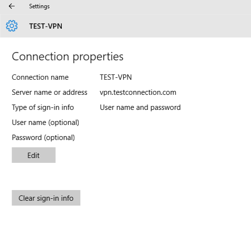 VPN advanced settings