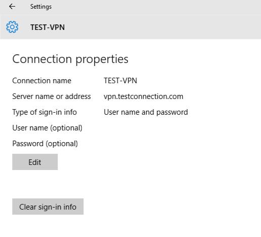 VPN advanced settings