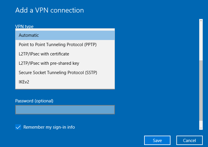 vpn type settings