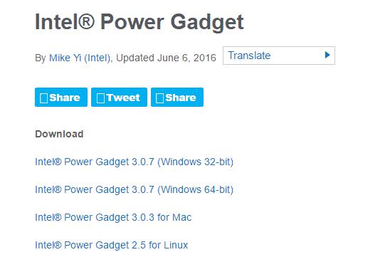Intel power gadget options