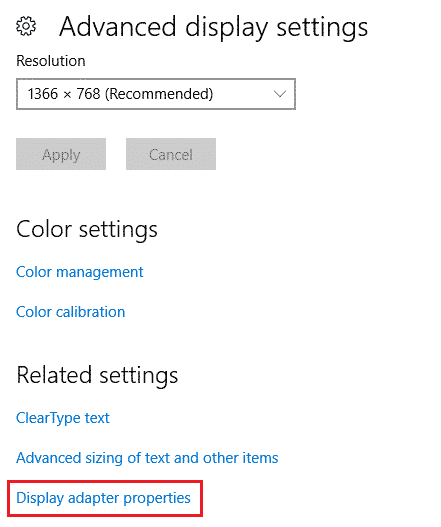 display adaptor properties windows 10
