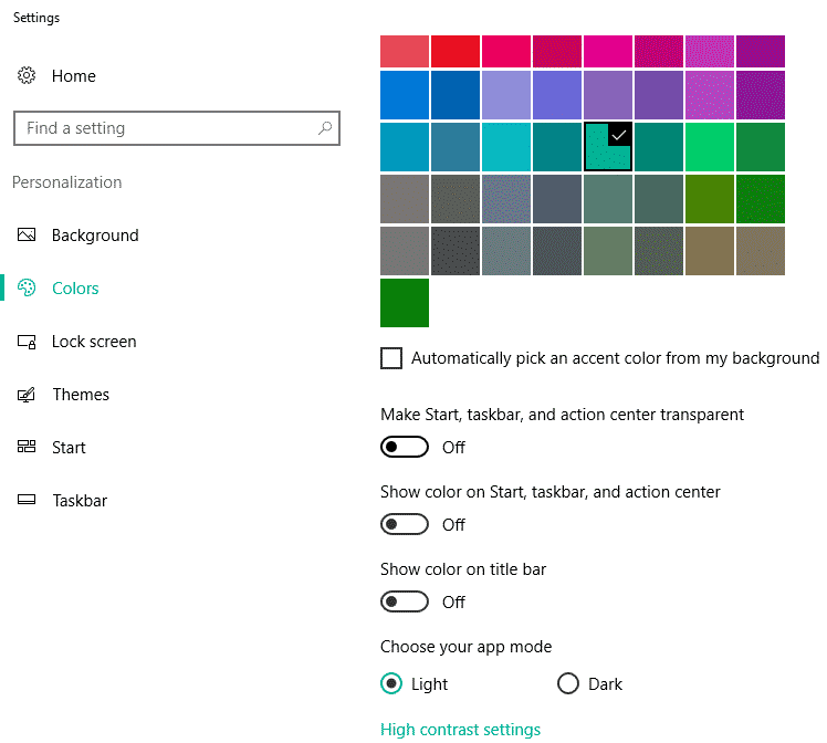 windows 10 color settings