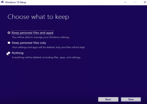 choose windows-setup-options