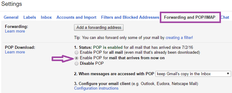 enable pop gmail