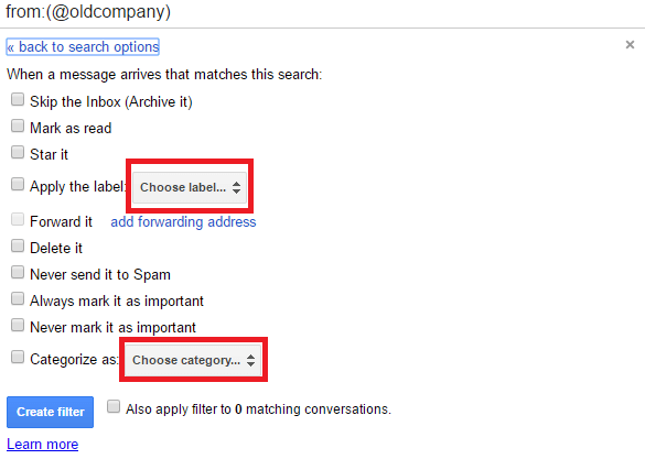label or category filters
