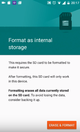 button to format SD card