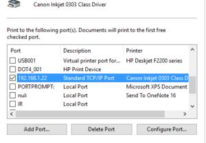 install a printer using IP address