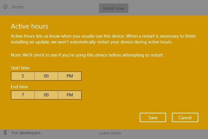 set time to restart after updates