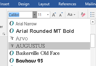 image shows font-in-word