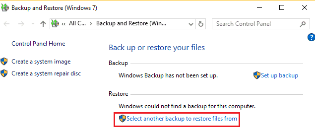screenshot showing restore data