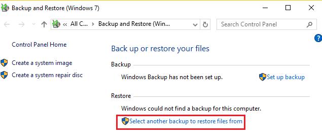 screenshot showing restore data