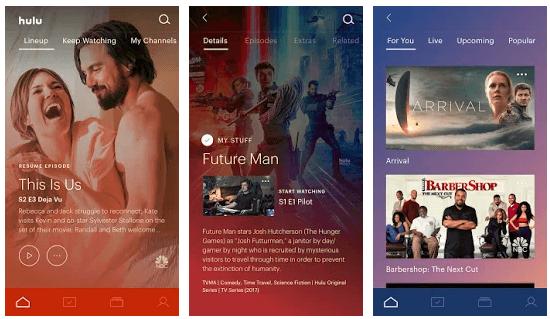 screenshot of hulu-tv-streaming-app