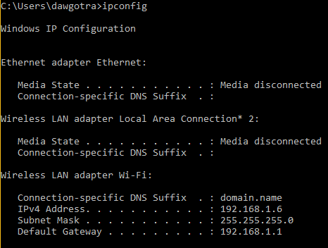 image showing output of ipconfig networking command