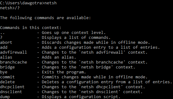 image of various netsh commands
