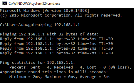 screenshot of command prompt with ping command