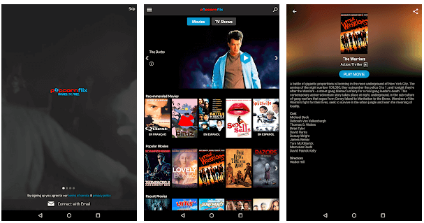 popcorn-streaming app's screenshots