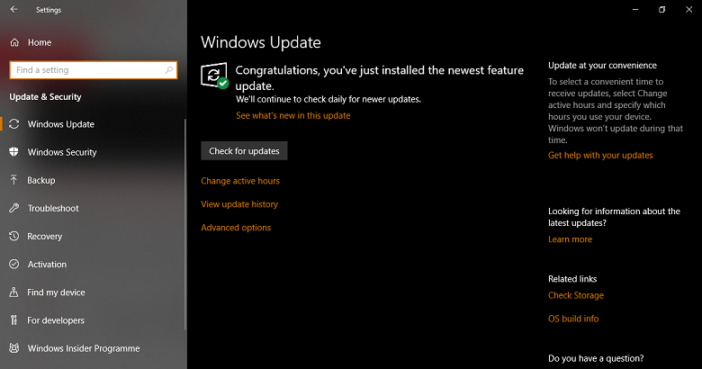 update and security screen
