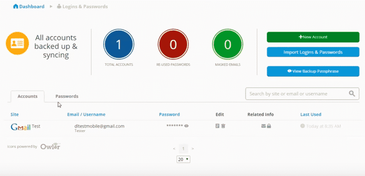 account dashboard of blur software