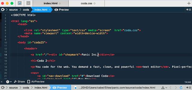screenshot of coda code editor for Mac