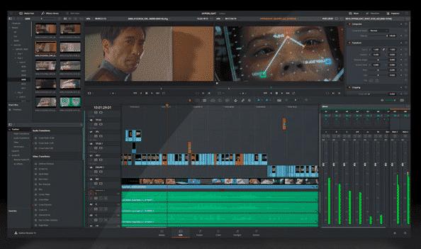 screenshot of davinci editor software