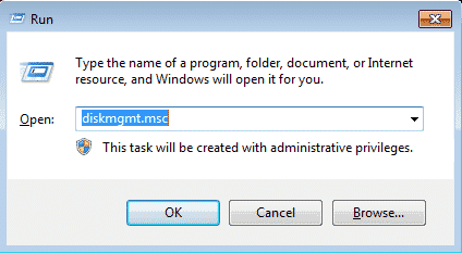 window showing disk-management command