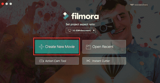 image showing filmora project options