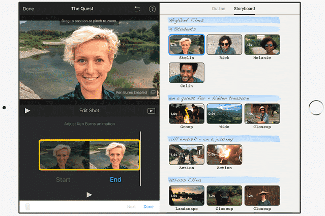 image showing imovie video-editing features