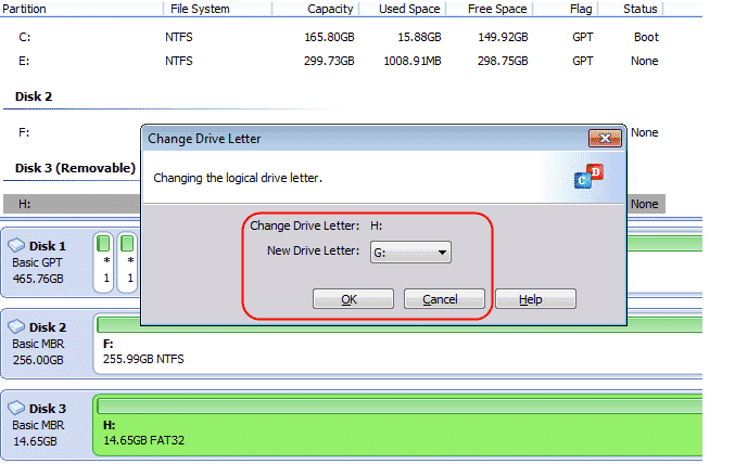 image showing changing the drive letter to new one