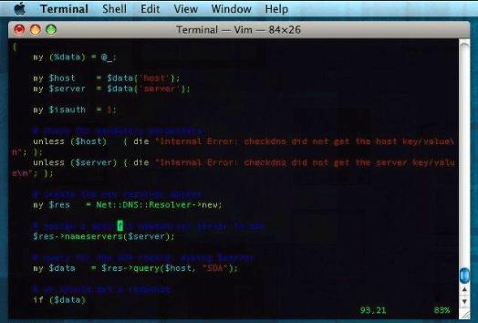 screenshot showing terminal of VIM code-editor