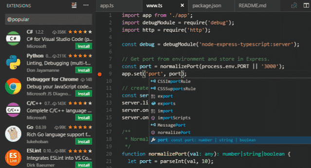 image of visual studio code editor