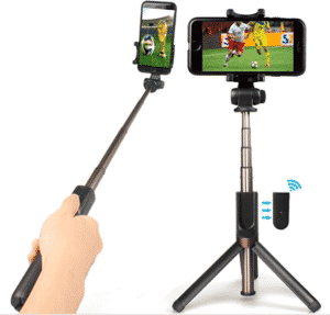 sudo slfie stick taking selfie of football match