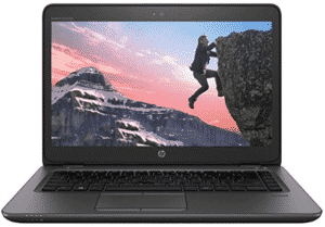 Image of HP laptop showing a person climbing rock