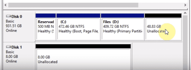image showing disk management interface