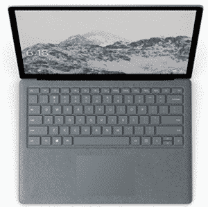 Top view of Microsoft's surfacebook