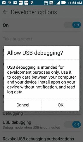 screenshot showing usb-debugging mode