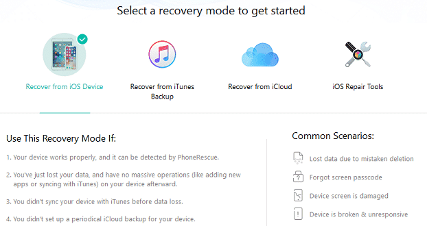 image showing iPhone data recovery modes