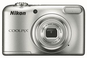 Nikon coolpix digital camera in silver color
