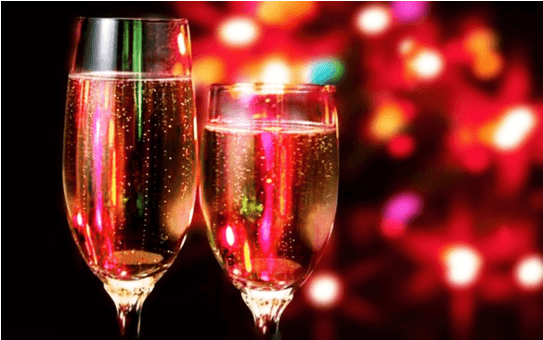 champagne in lights