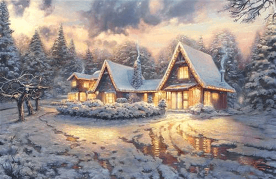 christmas wallpaper showing huts in a daylight