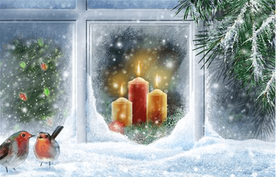 image showing candles glowing in ice backround