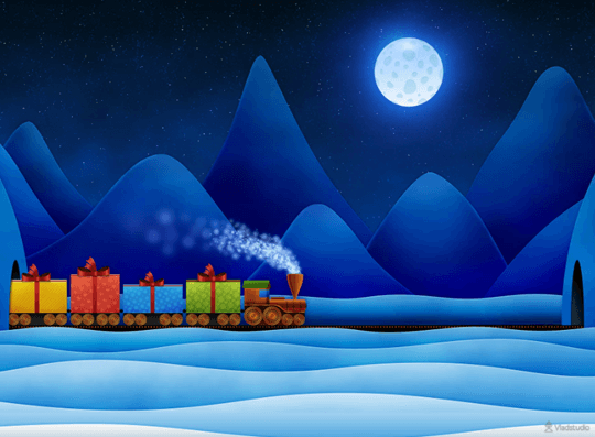 wallpaper with colorful christams train running in night