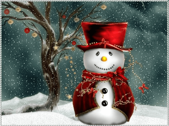snowman in red dress