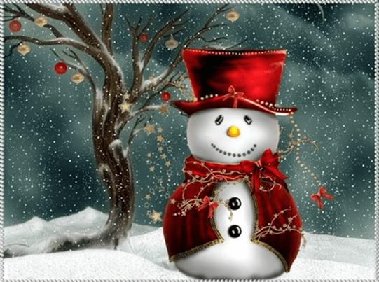 snowman in red dress